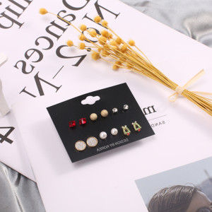 Christmas 6 pairs set earrings Christmas series a variety of pearl crystal alloy fashion earrings