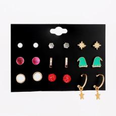 Weihnachten 9 Paar Set Ohrringe Weihnachtsmütze Legierung einfache und beliebte Ohrringe Damen