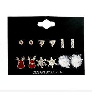Christmas 6 Pair Set Earrings Animal Snowflake Alloy Hair Ball Christmas Simple Stud Earrings