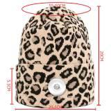 Damen Herbst und Winter neue Mode Leopardenmuster Wollmütze lässige doppellagige warme Strickmütze mit 18mm Druckknopf