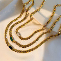 Cuban chain 18K plated stainless steel white shell green malachite black shell necklace