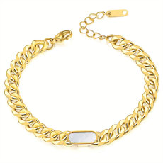 Stainless Steel shell Cuban Chain Bracelet Gold Plated Bracelet