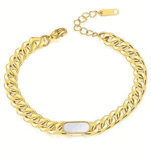 Kubanisches Kettenarmband aus Edelstahl, vergoldetes Armband