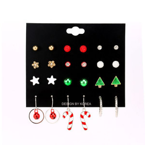 Christmas 12 pairs set earrings Christmas tree alloy five-pointed star stud earrings