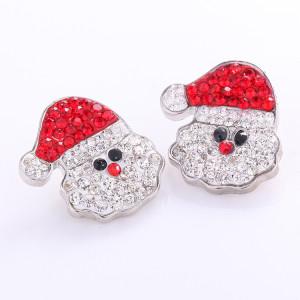 Árbol de navidad de muñeco de nieve navideño de 20 mm con botón a presión de diamantes de imitación
