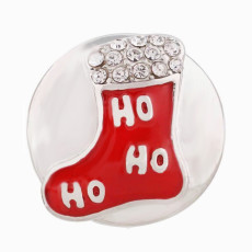 20MM Christmas socks silver Plated with enamel Rhinestone snap button
