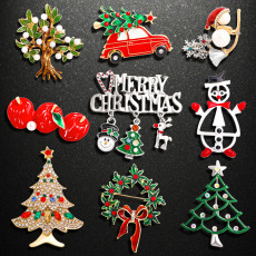 Weihnachtsbrosche Rehkitz Schneemann Weihnachtsbaumbrosche Alloy diamantbesetzte Weihnachtsbrosche