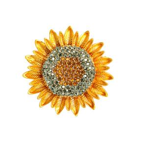 Broche de girasol ramillete de flores de plantas con diamantes incrustados