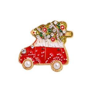 Broche de Navidad Fawn Muñeco de nieve Broche de árbol de Navidad Broche de Navidad con diamantes de aleación