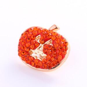 Cabeza de calabaza de Halloween de 20 mm con botón a presión de diamantes de imitación