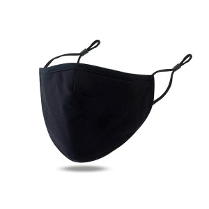 Masque en coton noir respirant, anti-smog et anti-poussière de couleur pure avec masque en coton filtre PM2.5