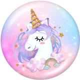 20MM  Cartoon  Unicorn  Print  glass  snaps buttons