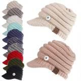 Beschriftete Baseballmütze Schirmmütze Rückenöffnung Pferdeschwanz Hut Herbst und Winter Wollmütze Damen Fit 18mm Druckknopf