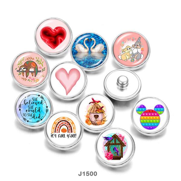 20MM  love  rabbit  bird  Print   glass  snaps buttons