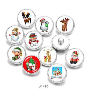 20MM  Christmas  Deer  Snowman  Dog  Print   glass  snaps buttons