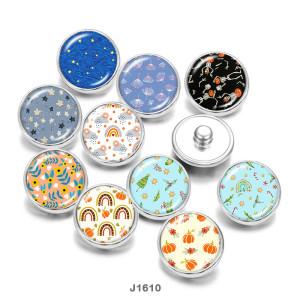 20MM  Halloween  Flower  Print   glass  snaps buttons