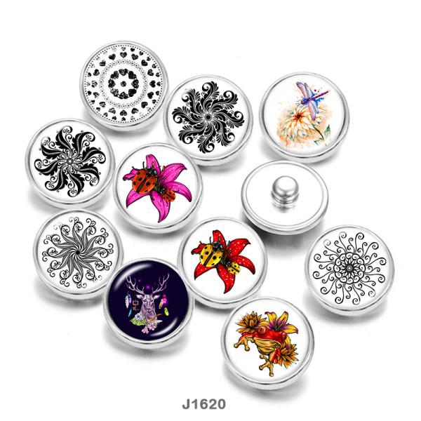 20MM  Dragonfly   Flower  Deer  Print   glass  snaps buttons