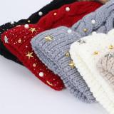 クリスマスレディース五芒星ニット帽子ファッションウールウール帽子屋外の厚みのある暖かさのキャップは18mmのスナップボタンにフィットします