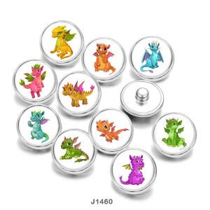 Botones a presión de vidrio con estampado de dragón de dibujos animados de 20 mm