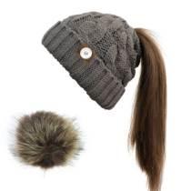 Cola de caballo Bola de pelo Sombrero de lana Calor Sombrero trenzado Borde engarzado Sombrero de punto Ajuste con botón a presión de 18 mm