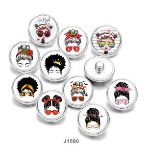 20MM  Cartoon  girl  MOM Print  glass  snaps buttons