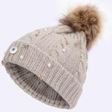 Señoras navideñas estrella de cinco puntas sombreros de punto moda lana sombreros de lana gorras de calor engrosadas al aire libre se ajustan a botón a presión de 18 mm