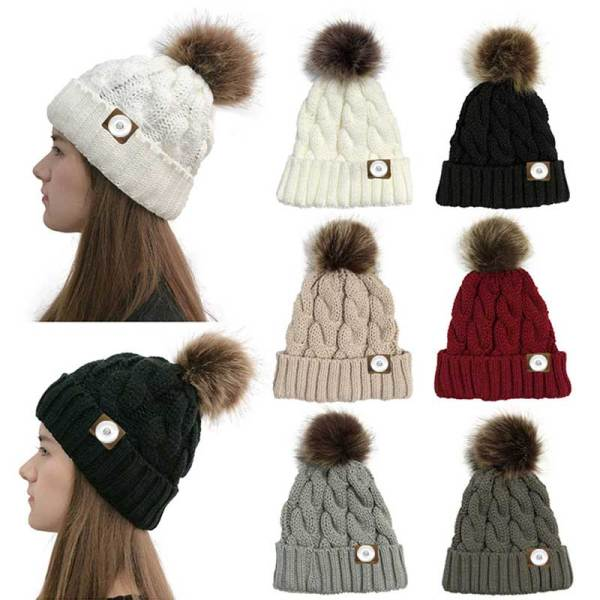 Horsetail Hair Ball Woolen Hat Warmth Twisted Hat Crimped Edge Knitted Hat fit 18mm snap button