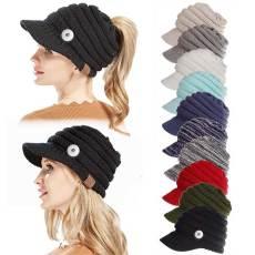 Gorra de béisbol con etiqueta Gorra con visera Apertura trasera Sombrero de cola de caballo Sombrero de lana de otoño e invierno Señoras en forma de botón a presión de 18 mm
