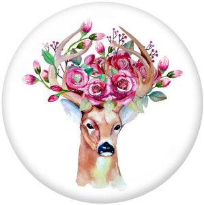 20MM  Deer  rabbit   Unicorn  Print  glass  snaps buttons