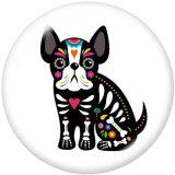 20MM Halloween Hund Katze Pferd Druck Glas Druckknöpfe