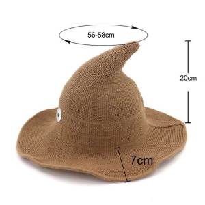 Halloween hat, witch hat, pointed big brim hat, cotton yarn knitted wizard hat, top hat, foldable basin hat, fisherman hat fit 18mm snap button