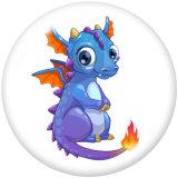 20MM  Cartoon  Dragon  Print   glass  snaps buttons