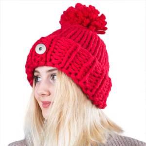 新しいスタイルの手作りの厚いウール編みの大きなボールニット帽は18mmのスナップボタンにフィットします