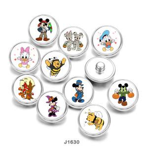 20MM  Cartoon  Christmas  Halloween  duck  Print   glass  snaps buttons