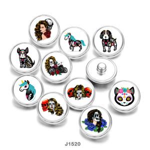 20MM  Halloween  Dog  Cat  horse   Print   glass  snaps buttons