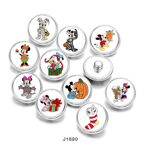 20MM  Cartoon  Halloween  duck  Print   glass  snaps buttons