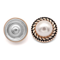 23MM Metal button pearl imitation shell fit 20mm snap jewelry