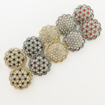 23MM Metal round cutout diamond buttons fit 20mm snap jewelry