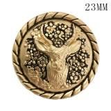 23MM Weihnachtshirsch goldener Elch Metall passend für 20mm Schnappschmuck