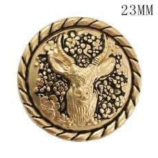 23MM Christmas deer golden elk metal fit 20mm snap jewelry