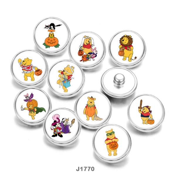 20MM Cartoon Halloween kleiner Bär Print Glasdruckknöpfe