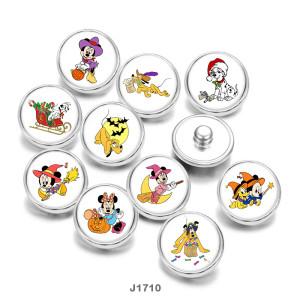 20MM Cartoon  Halloween  Dog Print   glass  snaps buttons