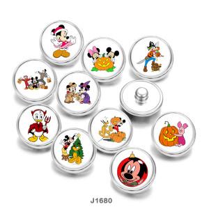 20MM  Halloween  Cartoon   Print   glass  snaps buttons