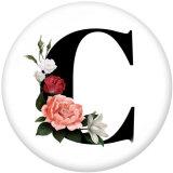 20MM Glasdruckknöpfe mit Blumen-Alphabetdruck