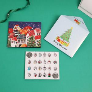 Christmas Ornaments Countdown Calendar Gift Box Set diy Pendant Cartoon Christmas Bracelet Necklace Gift