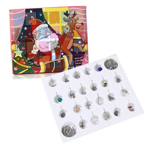 Christmas Jewelry Calendar Gift Box Lobster Clasp Accessories Bracelet Necklace Set