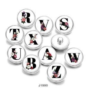 20MM  Flower   Alphabet   Print   glass  snaps buttons