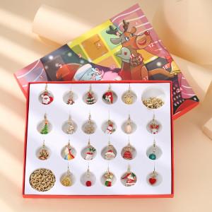 Christmas Jewelry Gift Box Countdown Calendar Gift Box Advent Golden Bracelet Necklace Blind Box Set