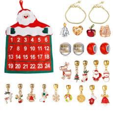 Weihnachtsschmuck Geschenk Kalender Stoffbeutel Armband Halskette Perlen DIY Geschenkset