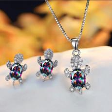 Damen Schildkröte Ohrringe Halskette Set Ornament Animal Series